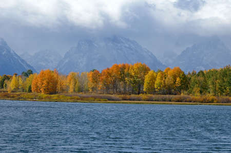oxbow: Grand Tetons just visable on a Fall day