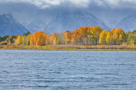 Oxbow Bend Grand Tetons National Park with Fall colors photo