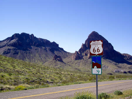 route 66: Historic Route 66 sign on desert highway Arizona USA