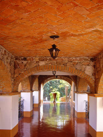 spanish style: Spanish style passageway in Mexico Stock Photo