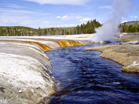 Steam vents from thermal area melts snow on Yellowstone River, USA photo