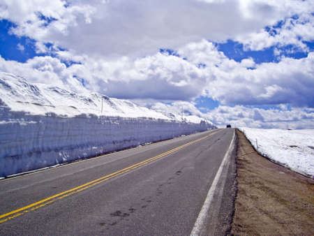 snowbanks: Beartooh Highway with massive snowbanks in Spring