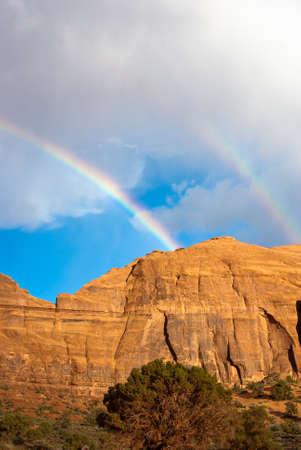 Double Rainbow over Monument Valley, Utah USA Stock fotó