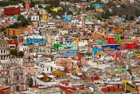 Colorful houses on the hills of Guanajuato Mexico photo