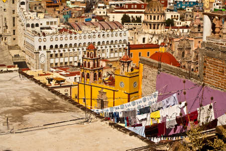 Traditional washing lines on rooftops Guanajuato Mexico photo