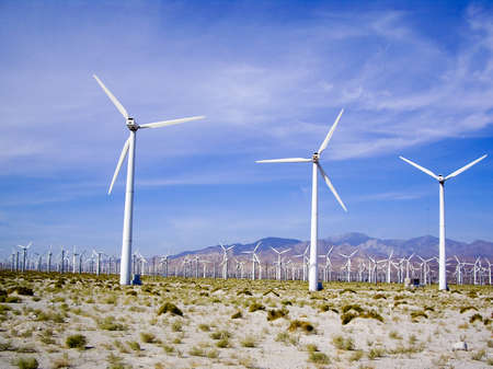 palm springs: Wind Turbines march across the desert at Palm Springs, USA