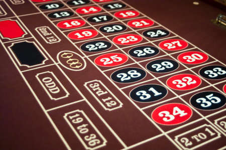 Roulette felt table with red and black numbers