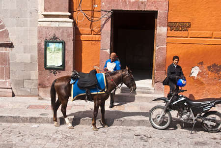 SAN MIGUEL DE ALLENDE, GUANAJUATOMEXICO � FEBRUARY 15: Mounted police wear traditional uniform in historic town famous for culture and the arts shown on February 15, 2010 in San Miguel de Allende