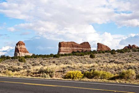 rock strata: Red stripe rocks in the deserts of  Colorado, USA