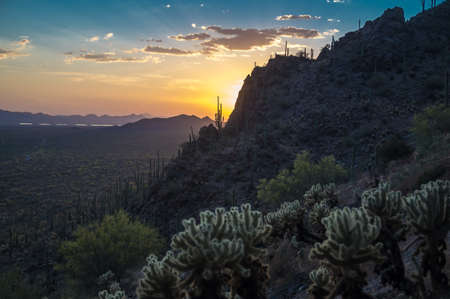 Sunset over Saguaro National Park, Arizona USA photo