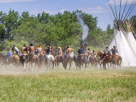 cavalry: US Cavalry and Indians in Battle of the Bighorn reenactment