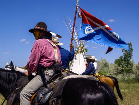 cavalry: US Cavalry flag at reenactment of Battle of the Bighorn Editorial