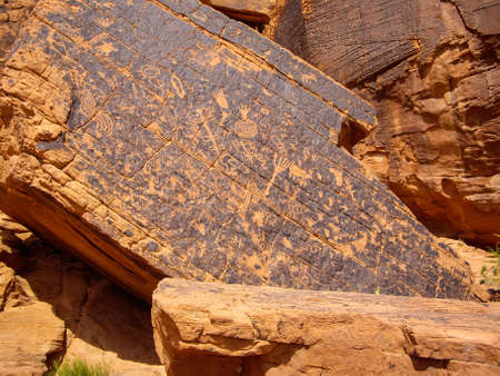 Ancient drawings on sandstone rock at Valley of Fire State Park, Nevada