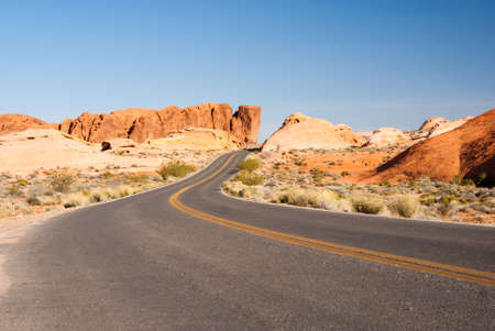 Desert road through sandstone Valley of Fire State Park