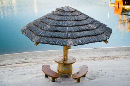 palapa: Picnic palapa with benches at riverside Stock Photo