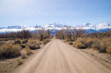 nevada: Sierra Nevada mountains with snow in March Stock Photo