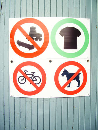 Sign showing prohibited things