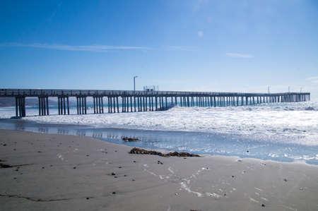 Sunshine on the empty pier at California coast