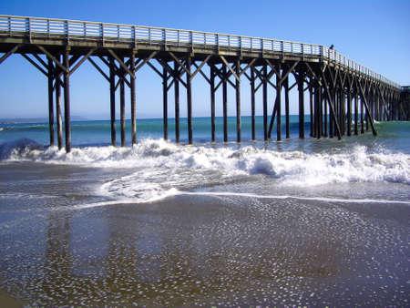 Man watches ocean on pier in California coast