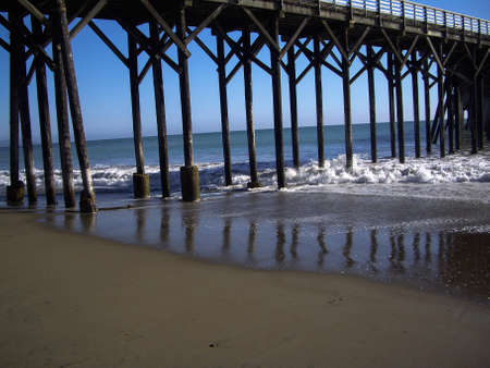Wooden pier and posts in California