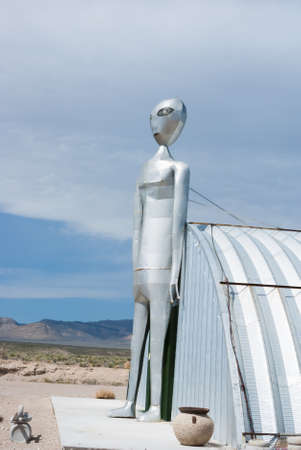 RACHEL, NEVADAUSA - March 30, 2010: The tall metal Alien figure at the Alien Research Center located on Nevada's Extraterrestrial Highway near Area 51.