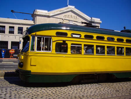 SAN FRANCISCO, CAUSA - SEPT 10 2012: San Franciscos original double-ended PCC streetcars, at San Francisco Pier 15. Popular with tourists the streetcar tram design was first built in USA in 1930s. Editorial