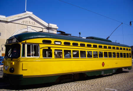 SAN FRANCISCO, CAUSA - SEPT 10 2012: San Francisco's original double-ended PCC streetcars, at San Francisco Pier 15. Popular with tourists the streetcar tram design was first built in USA in 1930s.