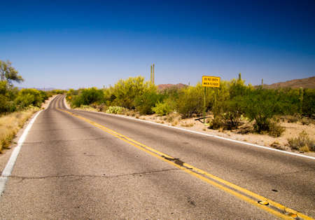 Flood warning sign on road through Saguaro National Park, Tucson Arizona