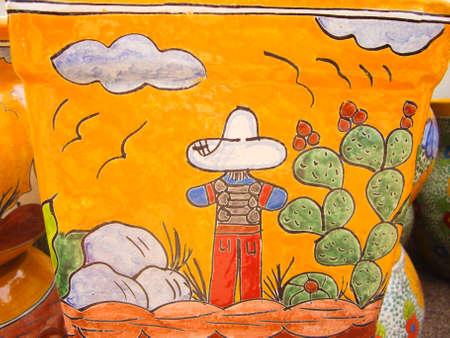 Desert art on Mexican pot