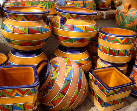 Mexican pottery in outdoor market