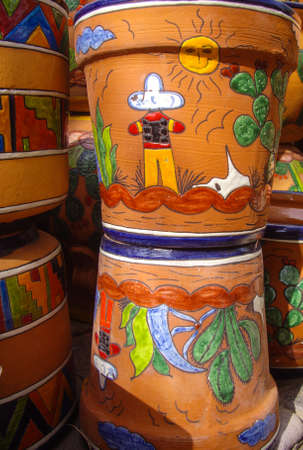 Desert designs on Mexican pottery Stock Photo