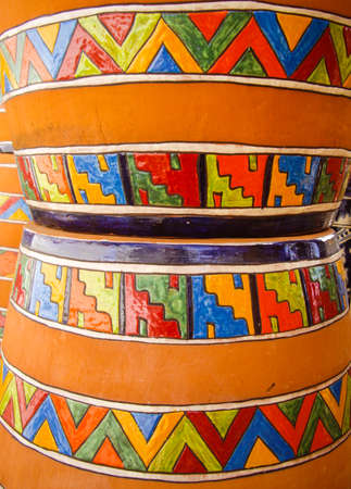 Pots with traditional Mexican designs