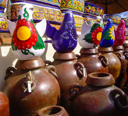Mexican pottery with many different designs