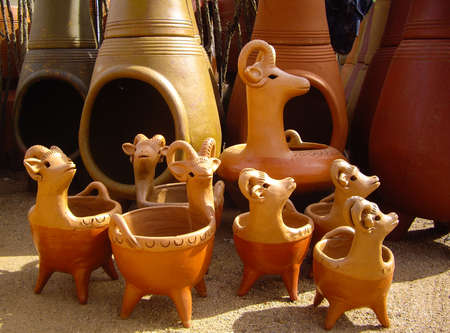 Mexican chimineas and clay goats
