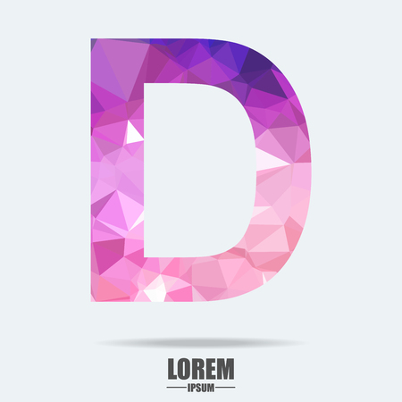 Abstract trend polygon letter D logo design template. Art tech media app creative sign. Colorful vector symbol icon. Bright alphabet font.