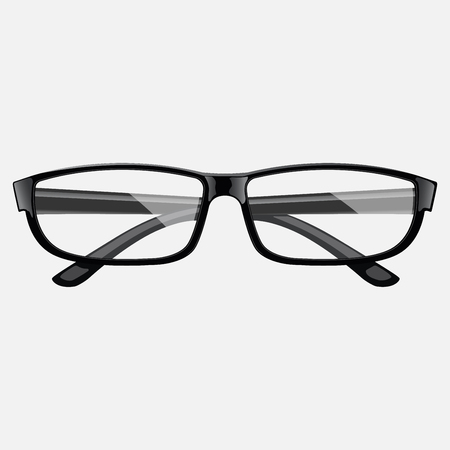 Realistic black glasses. Top view. Eps10 vector illustration.