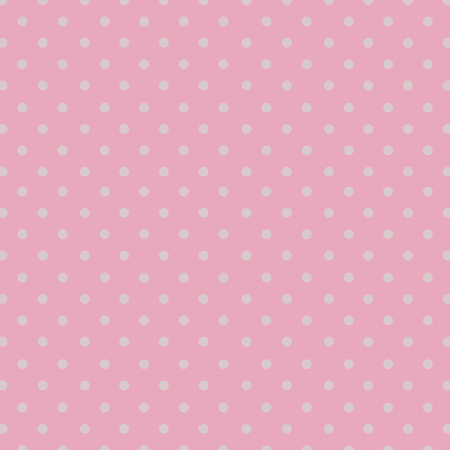 Seamless repeating white polka dot pattern on a pale pastel pink background.