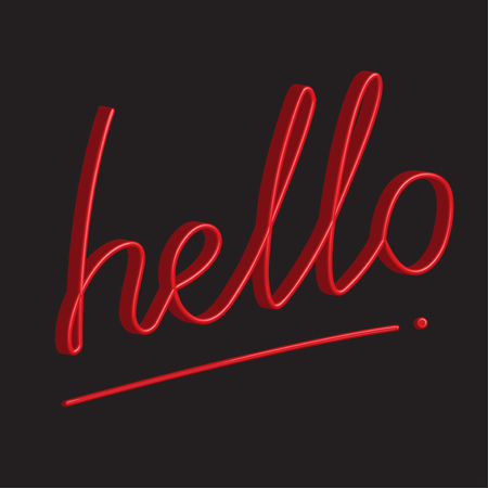 3D Word Hello over black background.