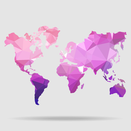 Abstract World Map - Vector illustration - Geometric Structure in blue color for presentation, booklet, website and other design projects. Polygonal background.