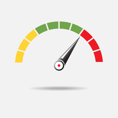 A Speedometer or tachometer with arrow. Infographic gauge element. Template for download design. Colorful vector illustration in flat style.