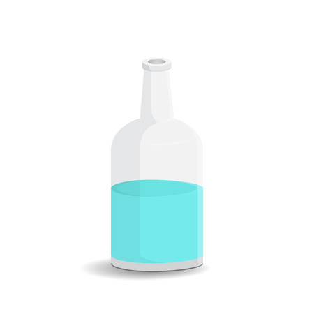 Glass bottle with water on a white background. Vector illustration bottle with a white label in your designs, pattern mock-up containers filled with liquid drink to quench your thirst.