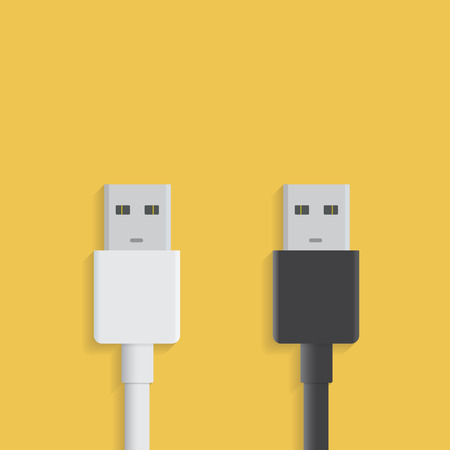 USB cable icon isolated on white and black background. Vector usb plug sign in flat style. Illustration EPS 10.