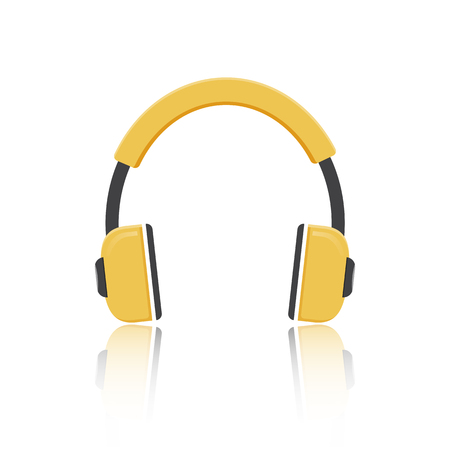 Vector yellow headphones icon isolated on modern white background  Illustration