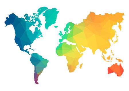 Carte du monde Polygone abstraite - Vector illustration - Structure géométrique en couleur bleue pour la présentation, brochure, site Web et autres projets de conception. Arrière-plan polygonal. Vecteurs