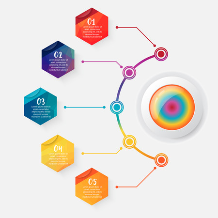 Timeline infographics design vector and marketing icons can be used for workflow layout, diagram, annual report, web design. Business concept with 5 options polygon, steps or processes.