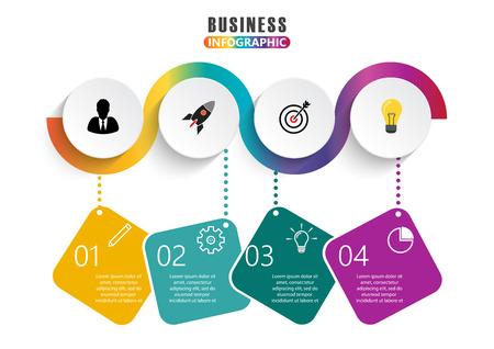Infographic ontwerp vector en marketing pictogrammen Stock Illustratie