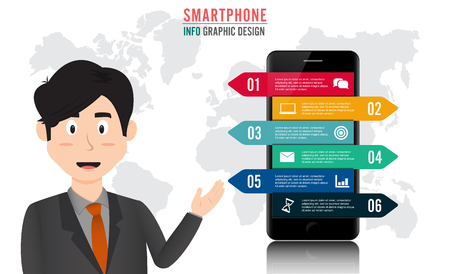 Businessman on a background of Infographics and flow charts smartphone info graphic. His arms crossed on his breast. Business presentation, strategy concept. Vector, illustration, flat Illustration