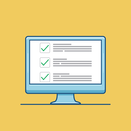 Checkboxes on computer screen. Checkboxes and green checkmarks. Modern concept for web banners, web sites, infographics. Creative flat design vector illustration isolated on yellow background