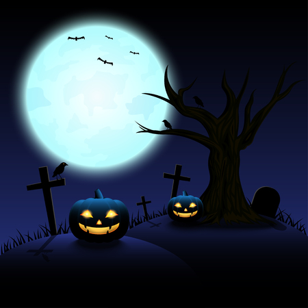 Halloween night with blue Moon and pumpkins, illustration. Illustration