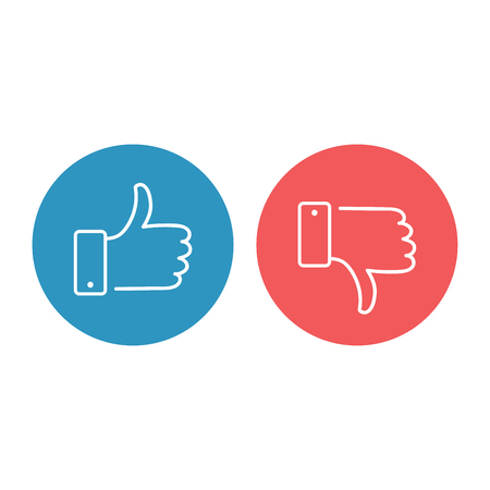 Like and dislike icons set. Thumbs up and thumbs down. Modern graphic elements for web banners, web sites, printed materials, infographics. Vector round thin line icons isolated on white background.